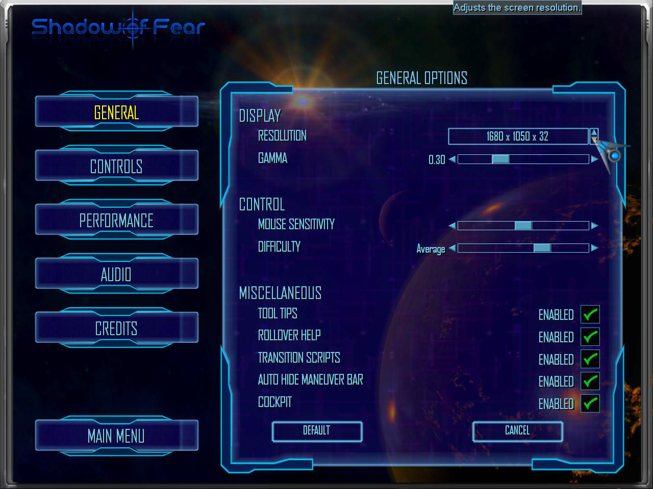 Shadow of Fear settings